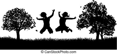 Happy Children in the Park Silhouette