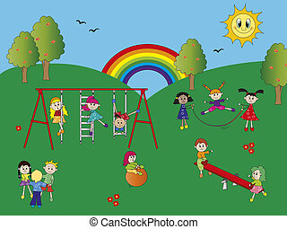 happy children in the playground