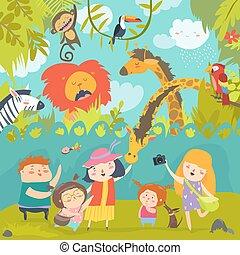 Happy children in with wild african animals