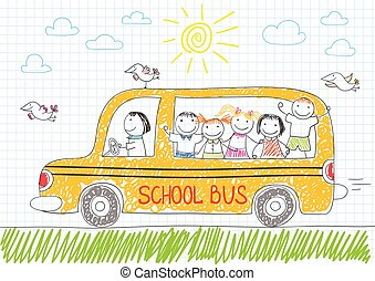 Happy children in yellow school bus