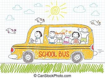 Happy children in yellow school bus
