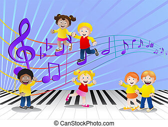 happy children infront of music notes - illustration of a...