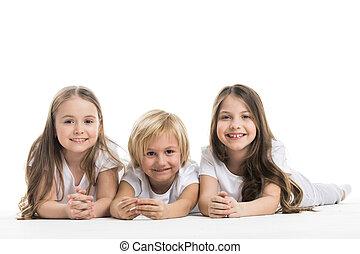 Happy children isolated on white