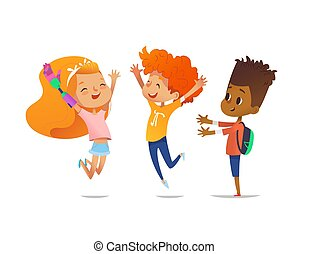 Happy children jump with raised hands. Girl with artificial robotic arm and her friends rejoice together. Inclusion of disabled kids concept. Vector illustration for banner, website, advertisement