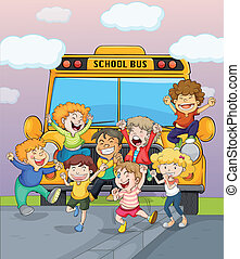 Happy children jumping for joy - Illustration of happy...