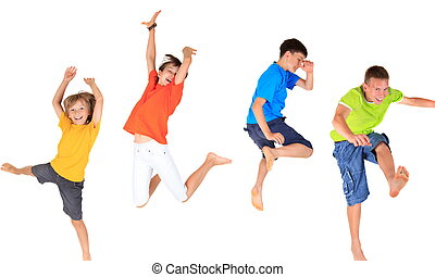 Four happy young barefoot children, boys and girl, jumping midair with white background.