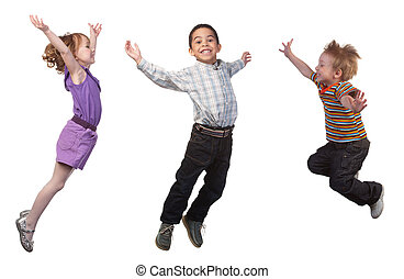Happy children jumping - Happy and smiling children jumping,...