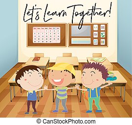 Happy children learn in classroom