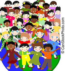 Happy children of different races in the world, the concept-world for children