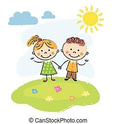 Happy children on a summer day