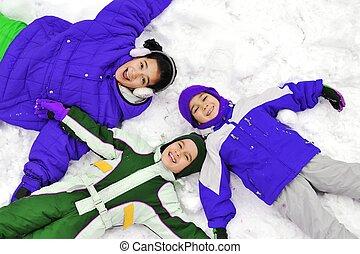 Happy children on snow