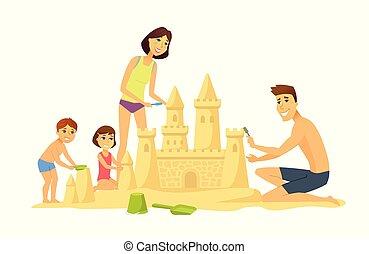 Happy children on the beach - cartoon people character illustration
