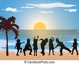 Happy children on the beach