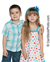 Happy children on the white background