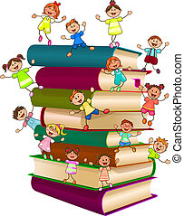 Happy children on top of a stack of books