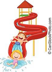 Happy children on water sliding