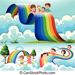 Happy children over the rainbow