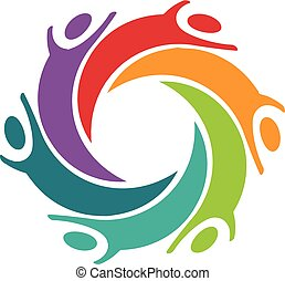 Happy Children People Logo Vector Design Graphic Illustration