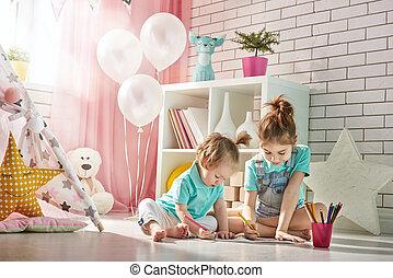 Happy children play
