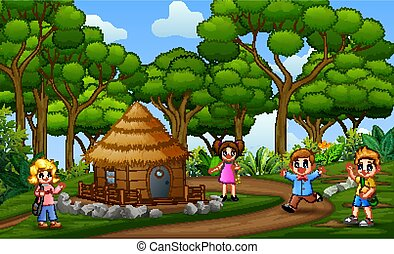 Happy children playing at the rural landscape