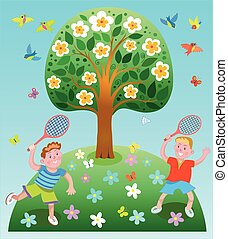 Happy children playing badminton