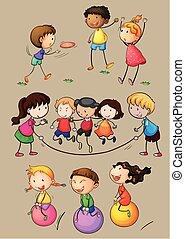 Happy children playing games