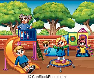 Happy children playing in the playground at daytime