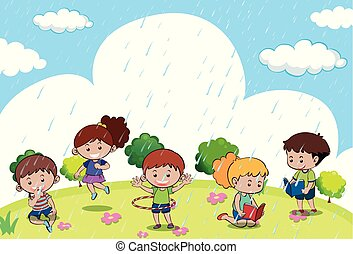 Happy children playing in the rain