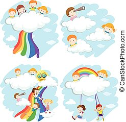 Happy children playing on the clouds and rainbow