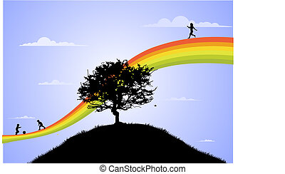 happy children playing on the rainbow