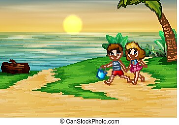 Happy children playing on the sea side