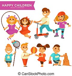 Happy children playing outdoor games vector icons set