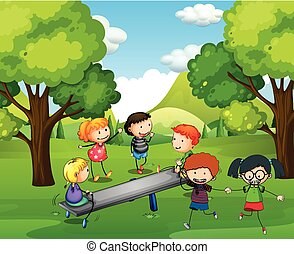 Happy children playing seesaw in park illustration