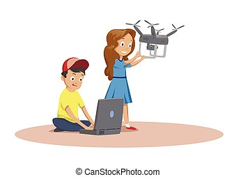Happy children playing with flying drone. Cartoon vector illustration isolated on white background.