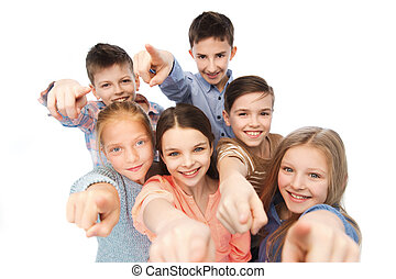happy children pointing finger to you