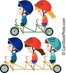 Happy children riding bicycle