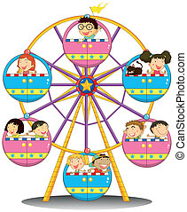 Happy children riding the ferris wheel - Illustration of the...
