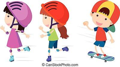 Happy children rollerskates and skateboard illustration