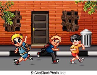 Happy children running and laughing on the road