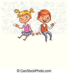 Happy children sit on a big blank poster and waving hands