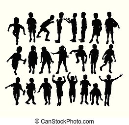 Happy Children Sport Activity Silhouettes