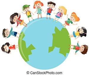 Happy children standing on earth