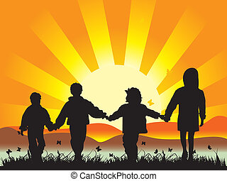 Happy children walk on meadow having joined hands