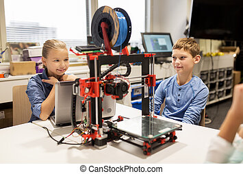 happy children with 3d printer at robotics school -...