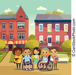 Happy Children with books and tablets. Schoolyard. Handicapped Kid. Vector