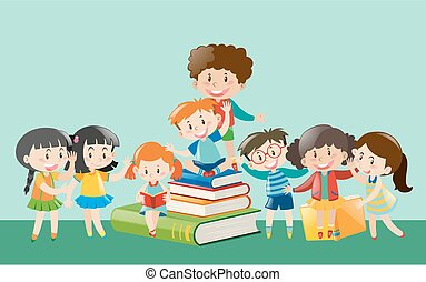Happy children with books