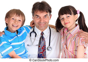 Happy children with doctor