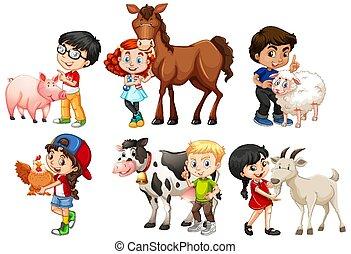 Happy children with farm animals on white background