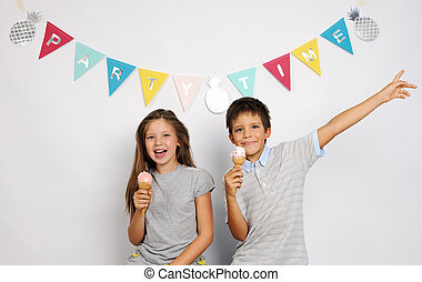 happy children with ice cream