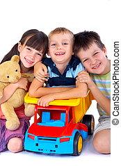 Happy children with toys